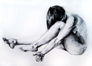 Rysunek weglem, akt kobiety