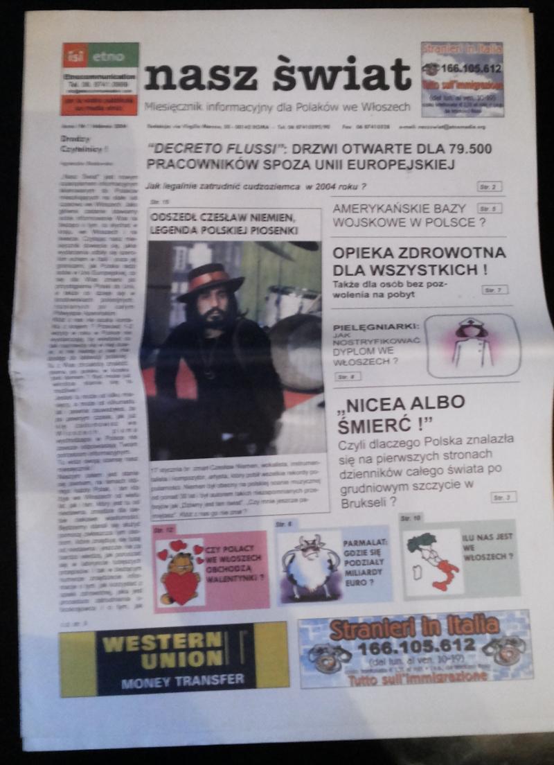 Pierwszy numer gazety Nasz Swiat