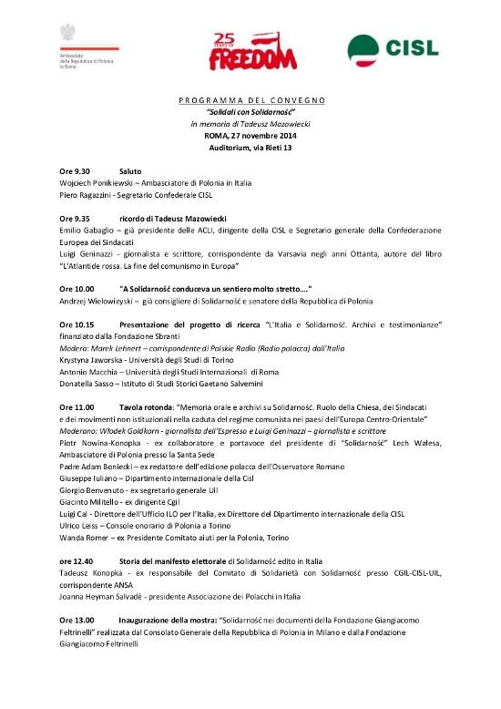 Solidarnosc convegno Roma programma