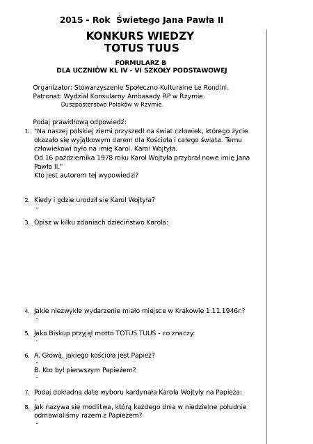 1 A KONKURS JAN PAWEL II - Kl IV - VI