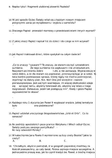 2 A KONKURS JAN PAWEL II - Kl IV - VI