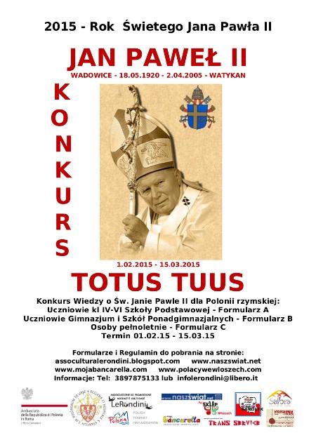 ULOTKA KONKURS JAN PAWEL II