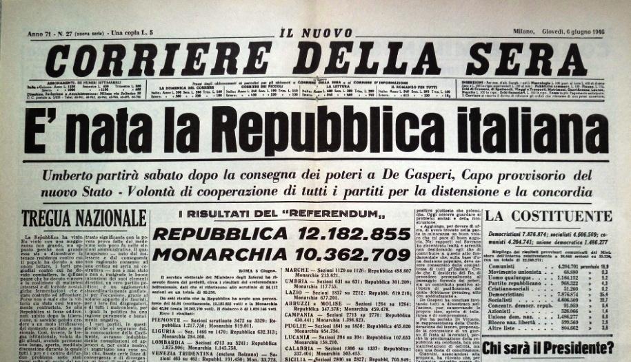 Pierwsza strona Corriere della Sera z 6 czerwca 1946 roku z wynikami wyborów foto: wikipedia italia