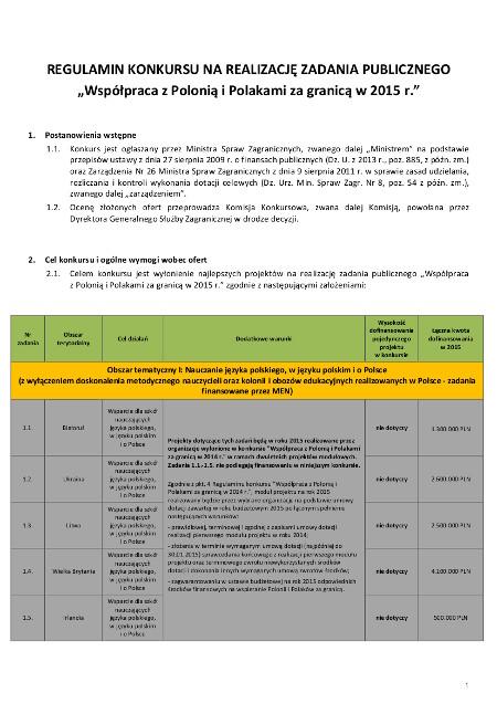 Fragment Regulaminu Konkursu, wiecej na stronie: https://www.rzym.msz.gov.pl/